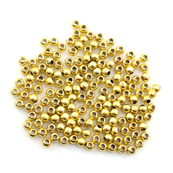 Harga 200Pcs 3.2mm Round Metal Ball Spacer Beads DIY Jewelry Making Accessories Gold