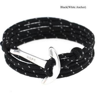 Harga High Quality Store New New Women Men Multilayer Leather Handmade Wristband Rope Anchor Bangle Bracelet Black(White Anchor