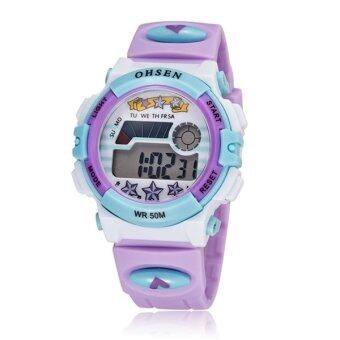 Harga Ohsen Multi-function Waterproof Backlight Display Quartz Sports Unisex Children Watch with Stopwatch /Date /Alarm (1603 Purple)