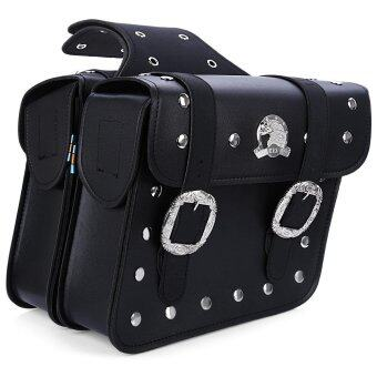 Harga Paired Motorcycle PU Leather Saddlebag Saddle Tool Pouch Side Bag Harley Cruiser Storage Pouch(BLACK)(...)
