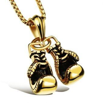 Harga Men's Titanium Steel Personalized Boxing Gloves Pendant Necklace Gold