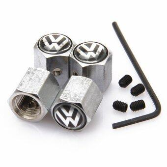 Harga Silver 4PCS Anti-theft Style Volkswagen VW LOGO Car Badge Wheel Tire Valve Cap Tyre Dust Cap For POLO GOLF JETTA Accessorie