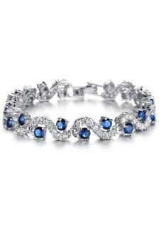 Harga Fancy White Gold Plated Crystal with Rhinestone Wedding Bracelet (Blue)