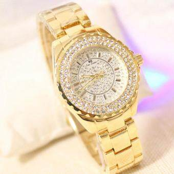 Harga New 2017 Fashion Casual Rhinestone Dial Gift Watch Women Steel Quartz Wristwatche Gold Silver Bracelet Dress Ladies Watches(Gold)