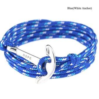 Harga High Quality Store New New Women Men Multilayer Leather Handmade Wristband Rope Anchor Bangle Bracelet Blue(White Anchor)