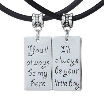 Harga 2pcs Father's Day Gift You'll always be my hero I'll always be your little Boy Black Genuine Leather Rope Necklace Set for Dad Son Men Boy