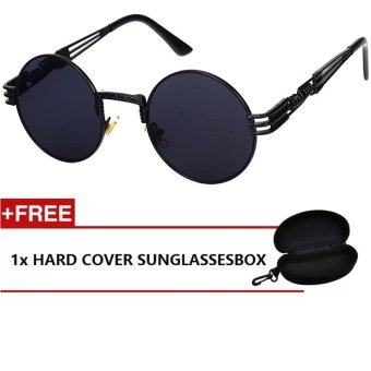 Harga iShade European and American Fashion Round Frame Men Eyewear Sunglasses 8010 (Black)