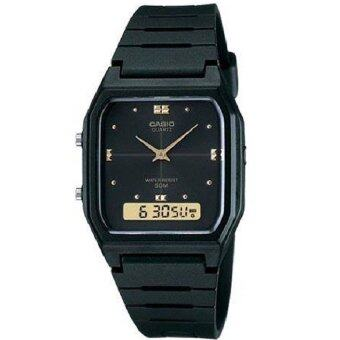 Harga Casio Men Ana-Digi Black Dial Resin Strap Watch AW-48HE-1AVDF