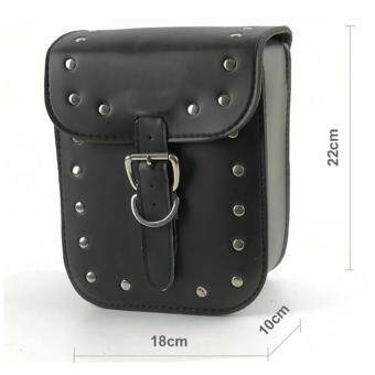 Harga Motorcycle Cruiser Side Box Tool Bag Leather Saddle Bag Racing Motorcross Black Prince Tail Bags