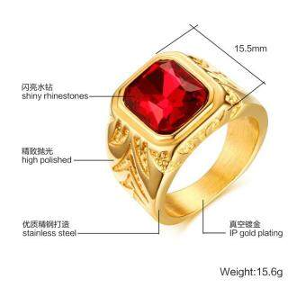 Harga The European and American Wind Tide Jewelry 15.5 MM Stainless Steel Red Gold Diamond Ring Men's Ring RC - 338