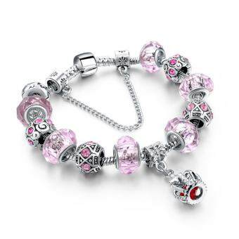 Harga Lovely Charm Bracelet Silver Beads Trinket Bangle Queen Crown