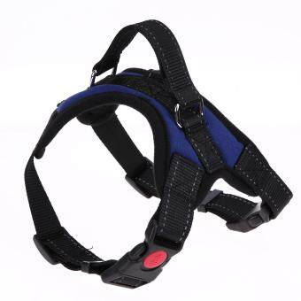 Harga Soft Nylon Adjustable Pet Outdoor Harness Collar Vest Strap for Medium Large Dog Pets(Blue M)