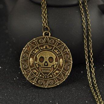 Harga Pirates of the Caribbean Aztec Gold Coin Necklace Mens Skull Pendant Jewelry