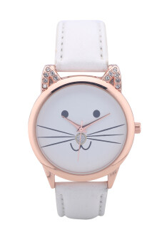 Harga 2015 new arrive Fashion collocation cat head neutral Geneva set auger cat lovers students face watches (White)