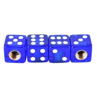 Harga 4Pcs/lot Bicycle Gas Cap Universal Dice Car Truck Bike Tyre Tire Air Valve Cap Blue