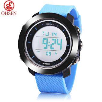 Harga OHSEN 1611 Men Digital Movt Watch LED Light Date Day Alarm Chronograph Display 5ATM Wristwatch (Blue)