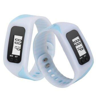 Harga Coconie Digital LCD Pedometer Run Step Walking Distance Calorie Counter Watch Bracelet White