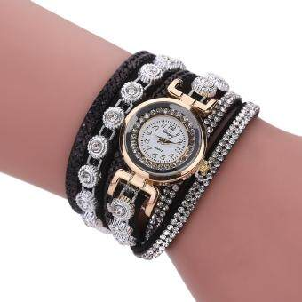 Harga Women Set Auger Hand Woven Winding Dress Watch Girl's Fashion Number Pointer Wristwatch Gift - black