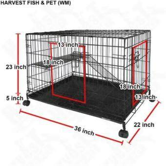 Harga Petzoo Pet C366 2-Level Cat Cage With Wheels (36 Inch x 22 Inch x 23 Inch) - Black