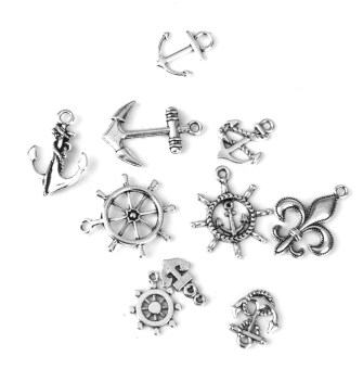 Harga 10pcs Antique Silver Nautical Helm Anchor Shapes Charms Pendant