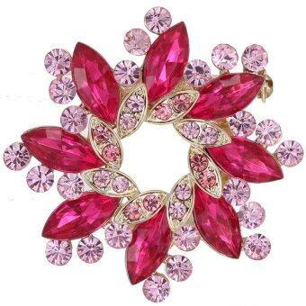 Harga Large Flower Rhinestone gold plated setting rose red diamond clips Brooch Wedding Bridal Broach New