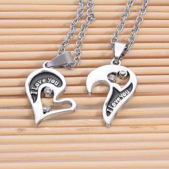 Harga High Quality Store New Men Women Lover Couple I Love You Heart Pendant Stainless Steel Chain Necklace