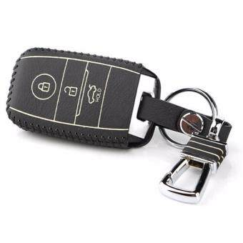 Harga Leather Metal Remote Smart Key Case Ring Key Chain Cover for Kia Sportage 2011-2014 K2 K5 Sorento (White)