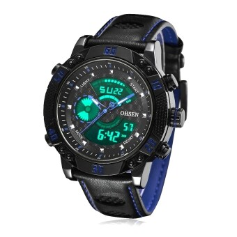 Harga OHSEN AD1609-B Fashion digital quartz Genuine Leather band men wristwatches(Blue)