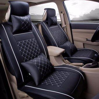 Harga Car Seat Covers, PU Leather, Front and Rear Row Full Set for 5 Seats Vehicle,for Full Seasons-Black and White Size L