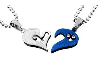 Harga Men Women Lover Couple Necklace I Love You Heart Shape Pendant Chain Jewel White Blue