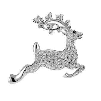 Harga Fancyqube New Christmas Deer Brooch Han Edition Set Auger Corsage Sika Rhinestone Inlay Wholesale High Quality Silver
