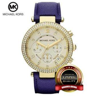Harga Michael Kors MK2280 Parker Swarovski Element Chronograph Watch (Blue)