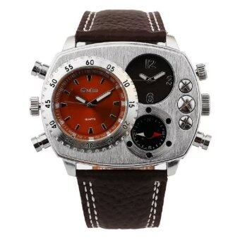Harga OULM 9865 New Hunter Series Luxury Fashion Casual Stainless Steel Men Quartz Watch leather watch brown