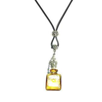 Harga Wax Cord Murano Glass Bottle Aromatic Pendant Necklace Essential Oil Diffuser (Yellow)