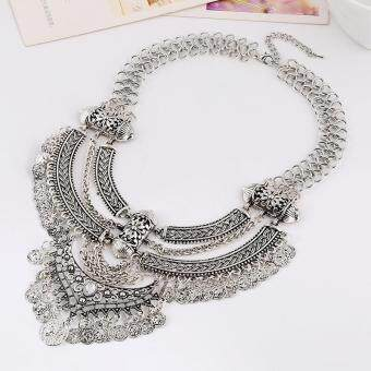 Harga High Quality Store New New Hot Women Vintage Bohemian Coin Chain Collar Choker Statement Bib Necklace Silver