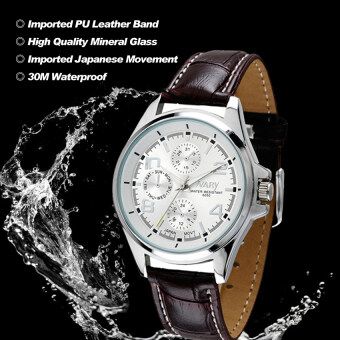 Harga 2016 High Quality NARY Original 6050 Men's PU Leather Band Classic Watch(brown)