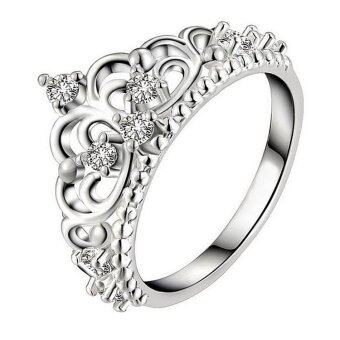 Harga Hequ Ring Silver Plated White Gold Ring Crown Royal Temperament Jewelry Ring Silver-6