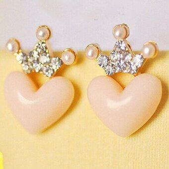 Harga ONLY Shinning Crown Heart Earrings
