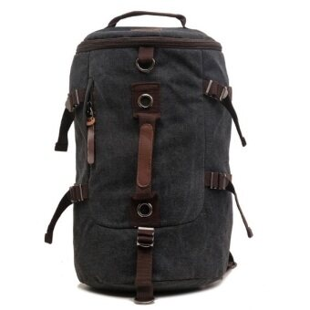 Harga AUGUR 1028 3 Way Canvas Leather Travel Backpack (Black)