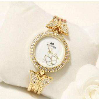 Harga BS Diamonds Ladies Dress Watch Luxury Gold Bracelet Wristwatch Ultra Thin Case Strap Silver Women Fashion Quartz Watch Clock