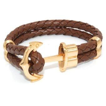 Harga GETEK Multilayer Leather Handmade Cuff Wristband Anchor Bracelet Bangle (Coffee)
