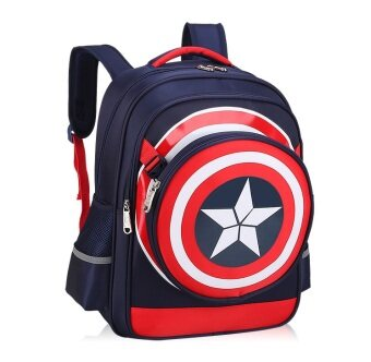Harga Adventure Captain America School Bag Tuition Bag (dark blue)