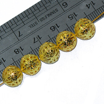 Harga 50pcs 10 mm Round Metal Spacer Beads Jewelry DIY Making Loose Charms Gold