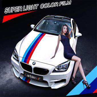 Harga Car-styling 15CM/3M M-Colored Stripe Car Hood Vinyl Sticker Body Decal For BMW M3 M5 M6 3/5/7 Series