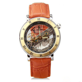 Harga IK Top Brand Luxury Self-Wind Automatic Mechanical Watches Men Rose Gold Case Genuine Leather Skeleton Watch relogios masculino(Light brown)