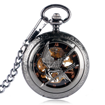Harga Exquisite Skeleton Mechanical Pocket Watch Men The Hunger Games Vintage Retro Pendant Black Hand Wind Roman Numerals Gift