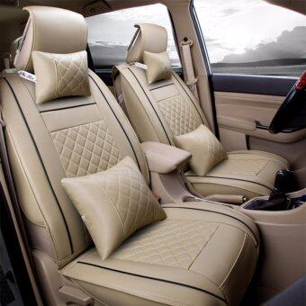 Harga Car Seat Covers, PU Leather, Front and Rear Row Full Set for 5 Seats Vehicle,for Full Seasons-Beige Size S