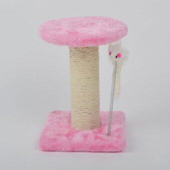 Harga 24cm Portable Cat Playhouse Tree Tower Condo Furniture Scratching Post Kitten Play House Toy (Pink)