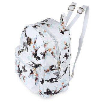 Harga Women Cute School Bags Backpack Mini 2016 Fashion Back Pack Floral Printing Black Small PU Leather Backpack For Teenagers Girls