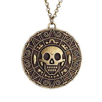 Harga Hequ Wholesale  Pirates of the Caribbean JACK SPARROW AZTEC Coin Pendant Chain Necklace Gold Bronze